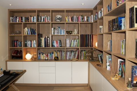 Cubby hole storage in home office