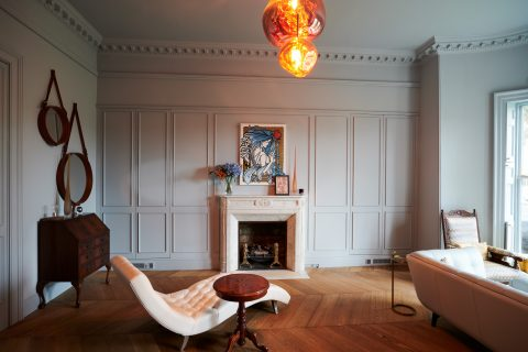 Wall panelling and chevron flooring