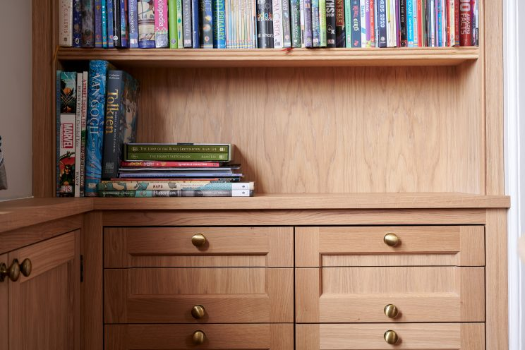Bespoke study bookcase with drawers