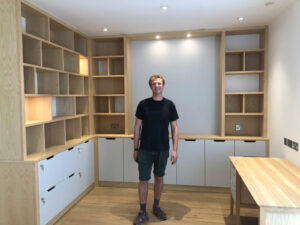 Bespoke home office in ash fitted by Ben Boyce