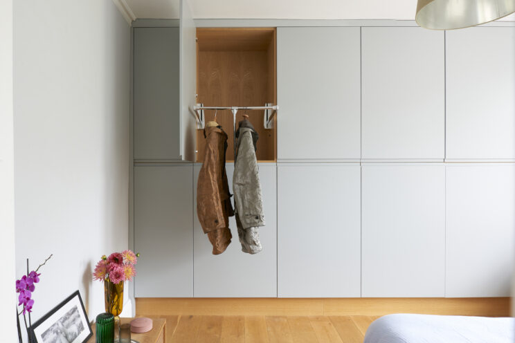 Apartment renovation - fitted wardrobes with sprung clothes rails