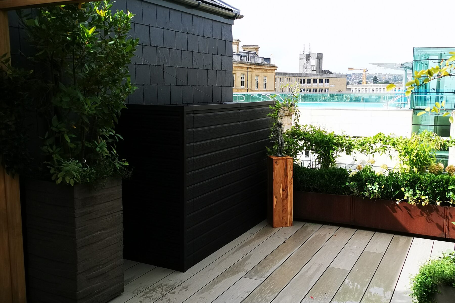 Composite Prime roof terrace and cladded storage box