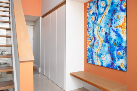 Contemporary hallway storage cabinetry & bench seating (designed, manufactured & installed)