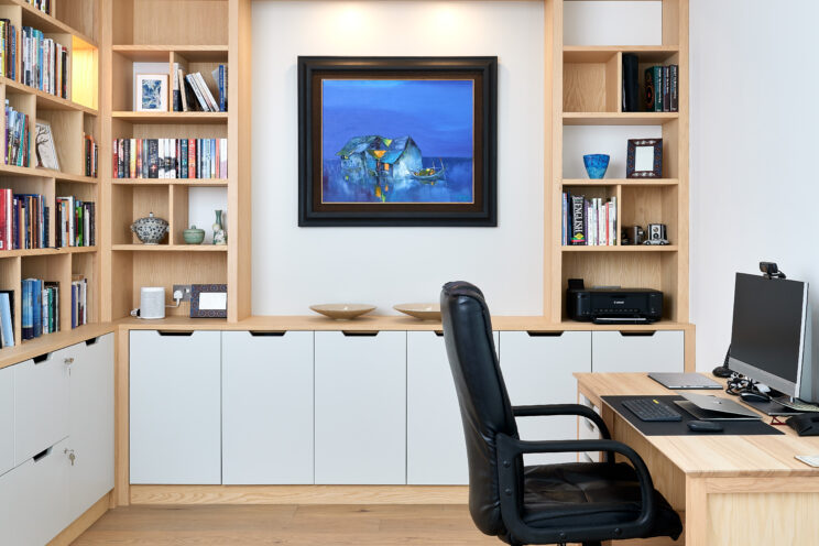 Bespoke home office with storage and artwork display