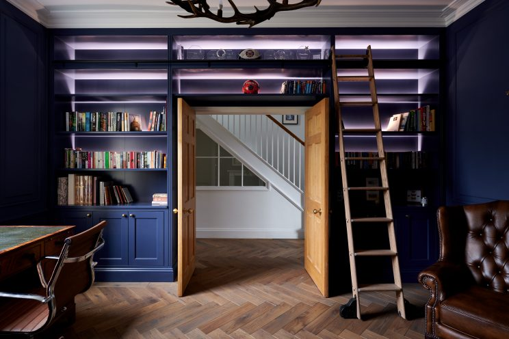 Up-and-over bookshelves in crown-cut oak