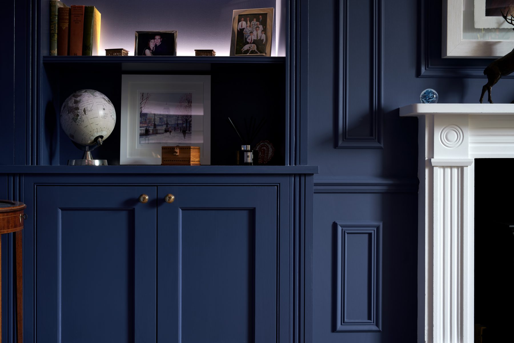 Alcove cabinetry with fluted column detailing